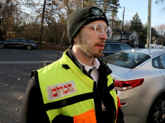 Tzvi Teicher of Chaverim of Rockland on Howard Drive In Monsey Nov. 21, 2019, the day after a stabbing occurred.