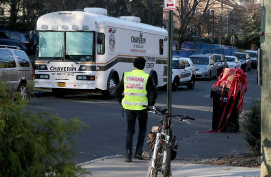 The Chaverim of Rockland command center vehicle is parked on Howard Drive in Monsey Nov. 21, 2019. A man was stabbed on the street the day before.