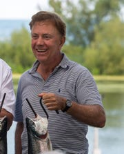 August 20, 2019- Wilson, NY- New York Governor Andrew Cuomo invites Connecticut Governor Ned Lamont fishing on Lake Ontario where they discussed common concerns facing their State's and held a press conference at Wilson-Tuscarora State Park in Wilson
