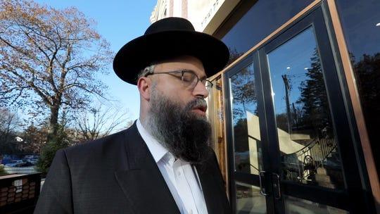 Jacob Kalman of Monsey at Mosdos Meharam Brisk Tashnad, near where a stabbing occurred the day before on Howard Dr. In Monsey Nov. 21, 2019.