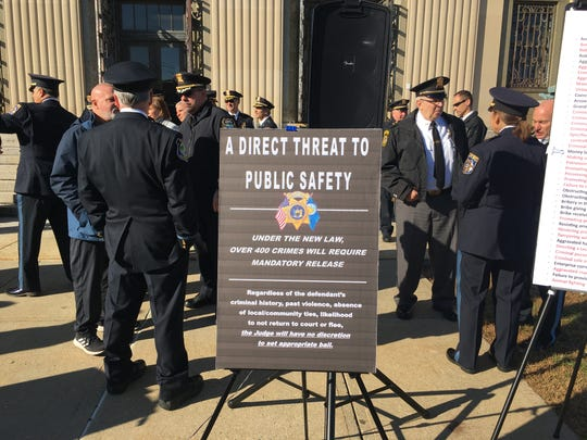 Law enforcement gathers before news conference Nov. 21, 2019 at the Rockland Courthouse to urge a moratorium on criminal justice reforms.