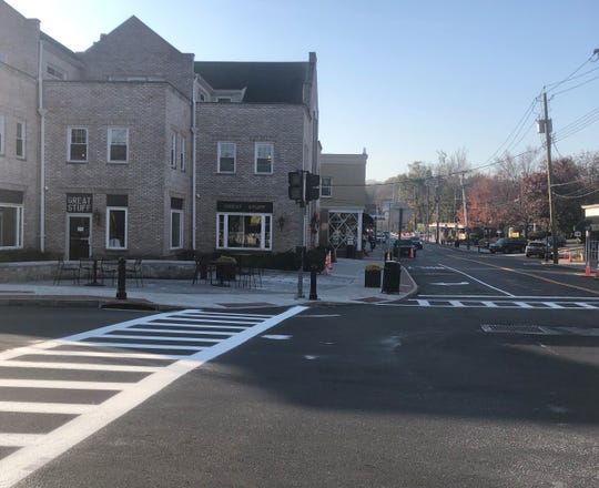 New crosswalks installed in downtown Chappaqua, which has undergone a lengthy infrastructure and streetscape project.