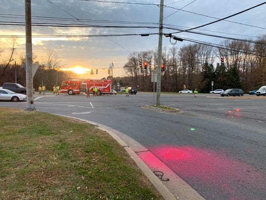 First responders directing traffic on Route 141 at Route 37 due to a three car crash Thursday afternoon.