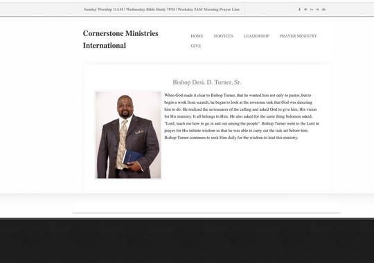 Cornerstone Ministries International's website has now been taken down, days after bishop Desi Turner, pictured here, was arrested for placing a hidden camera in a women's bathroom stall.