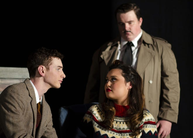 "Cody Bowers and Ilka Megee (front), playing Giles and Mollie Ralston, with Calvin Russell as Detective Sergeant Trotter, are part of the ensemble cast in the Midwestern State University Department of Theatre's production of Agatha Christie's ""The Mousetrap."""
