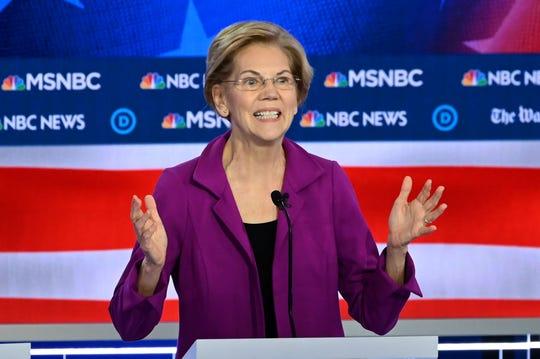 Democratic presidential hopeful Sen. Elizabeth Warren, D-Mass. participates in the fifth Democratic presidential primary debate in Atlanta.