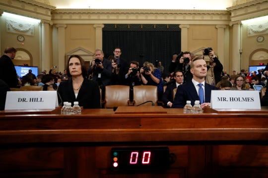 Fiona Hill and David Holmes testify in Washington on Nov. 21, 2019.