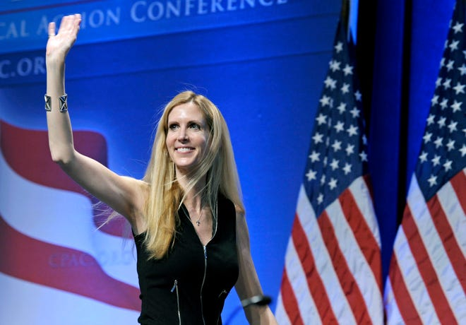 In this Feb. 12, 2011 file photo, Ann Coulter waves to the audience after speaking at the Conservative Political Action Conference (CPAC) in Washington.