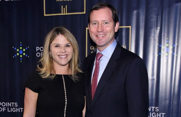 Jenna Bush Hager and her husband Henry Hager split the parenting duties equally, she says.