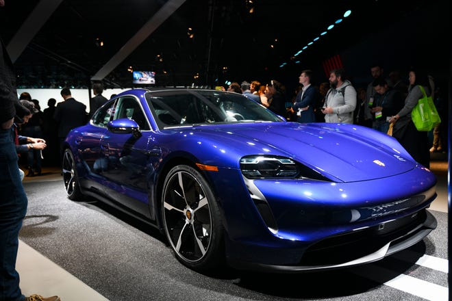 The Porsche Taycan 4S is photographed at the Los Angeles Auto Show at the Los Angeles Convention Center o
