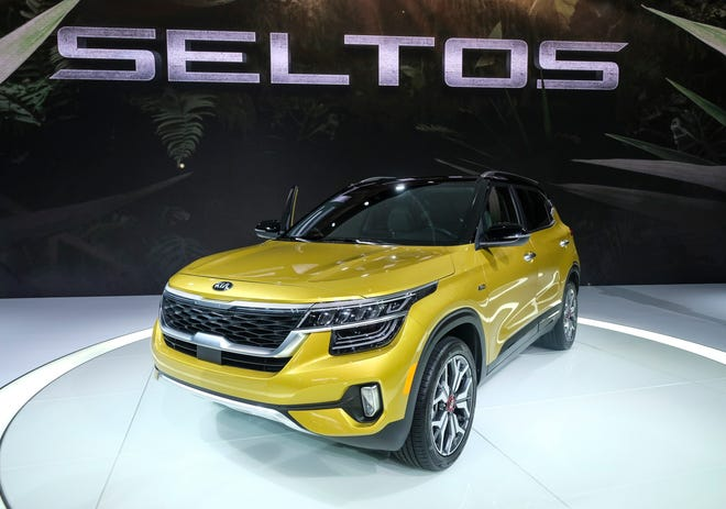 The Kia Seltos sits on display during the AutoMobility LA auto show at the Los Angeles Convention Center