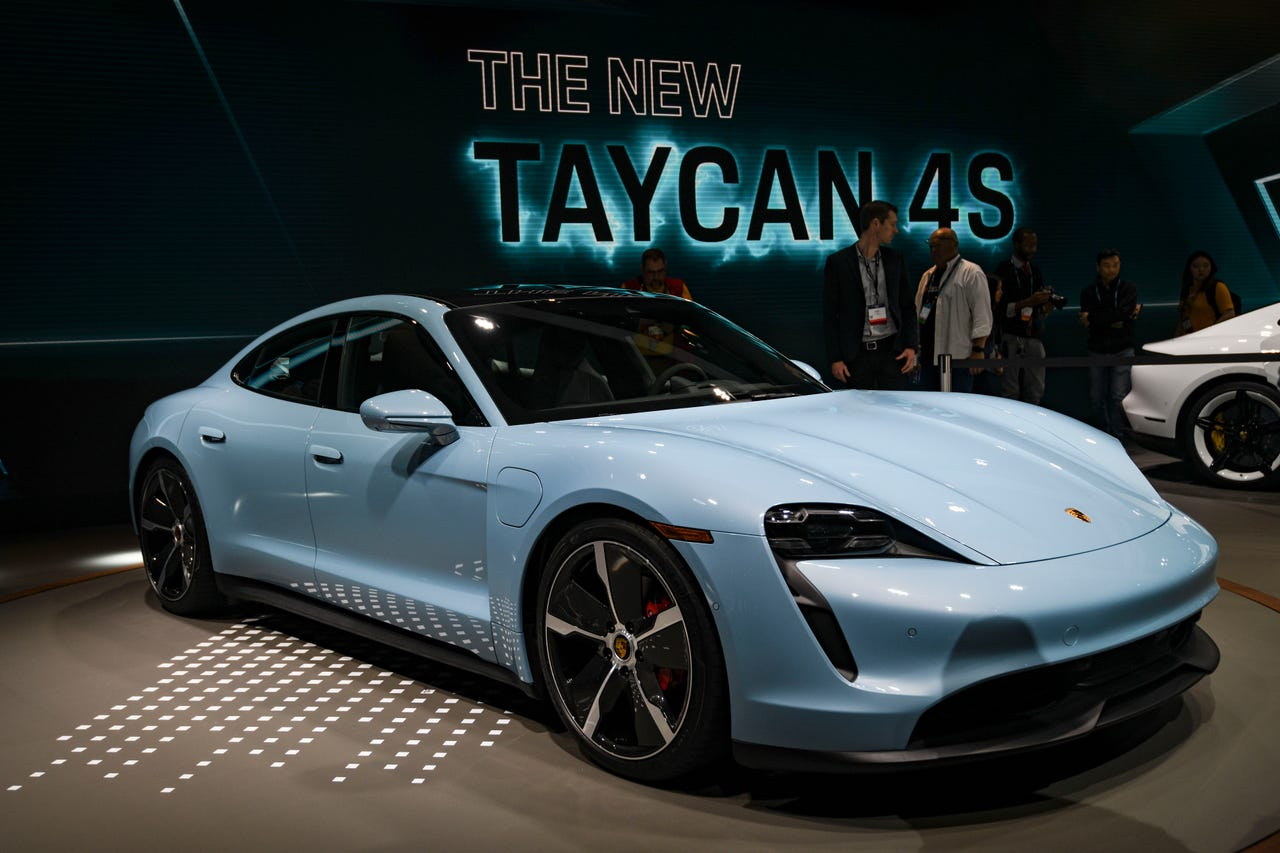 The newest Porsche Taycan 4S is photographed at the Los Angeles Auto Show at the Los Angeles Convention Center on Nov. 20, 2019.