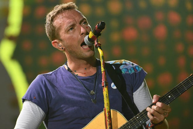 Chris Martin of Coldplay performing in Miami in 2017.