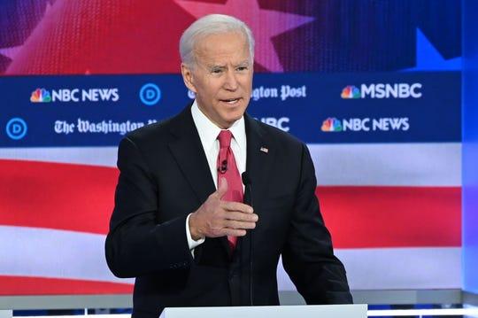 Democratic presidential hopeful former Vice President Joe Biden speaks during the fifth Democratic presidential primary debate in Atlanta.
