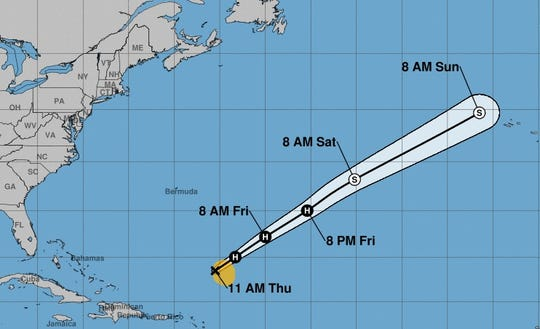 The forecast path of Tropical Storm Sebastien, which is forecast to strengthen into a hurricane as it races out into the Atlantic Ocean.