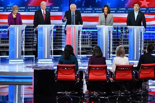 Democratic presidential candidates debate in Atlanta on Nov. 20, 2019.