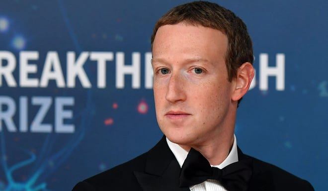 Facebook CEO Mark Zuckerberg arrives for the 8th annual Breakthrough Prize awards ceremony at NASA Ames Research Center in Mountain View, California, Nov. 3, 2019.