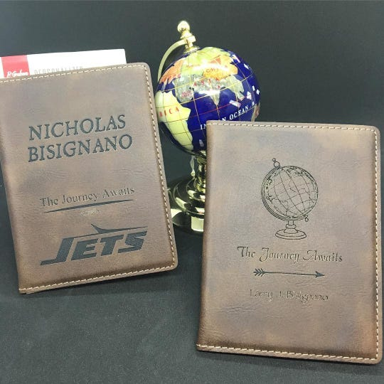 Laser engraved passport holders at The Proud Peacock in Point Pleasant Beach.