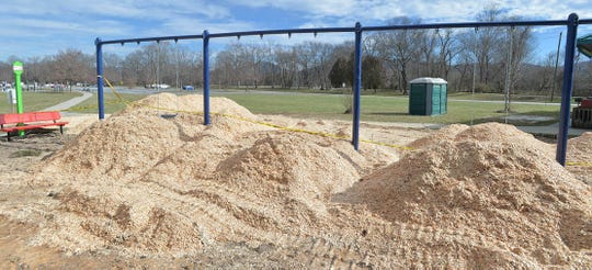 New swing sets take shape at Fletcher's park.