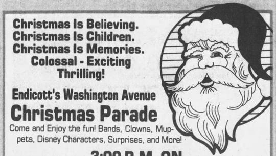 An ad promotes the Endicott parade and the arrival of Santa.