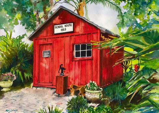 "Artist Mary Salvage created this image of the old school house at Florida Tech for the ""Images of Brevard County"" calendar."