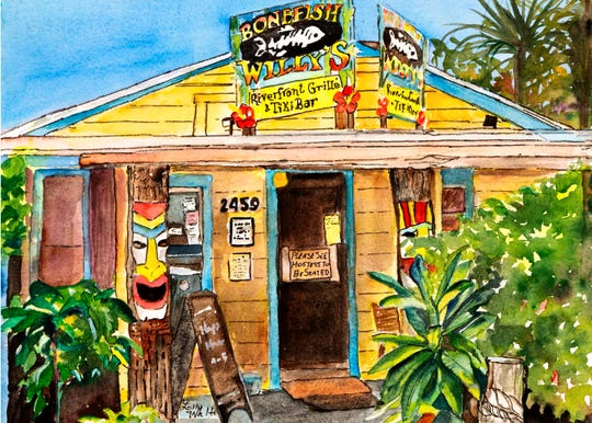 Artist Lolly Walton's depiction of Bonefish Willy's Riverfront Grille is featured in the Eau Gallery 2020 calendar.