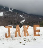 A tribute to Jake Burton Carpenter at Stowe ski resort on opening day on Friday, Nov. 22.
