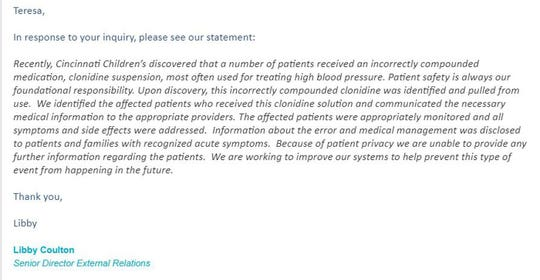 """A message from Cincinnati Children's Hospital regarding an """"incorrectly compounded"""" dose of clonidine medication given to young children at the hospital."""