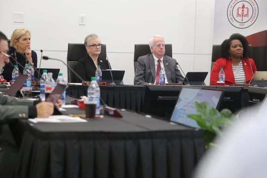 APSU's President Alisa White and members of their Board of Trustees listen to a speaker at their winter board meeting on Nov. 22, 2019.