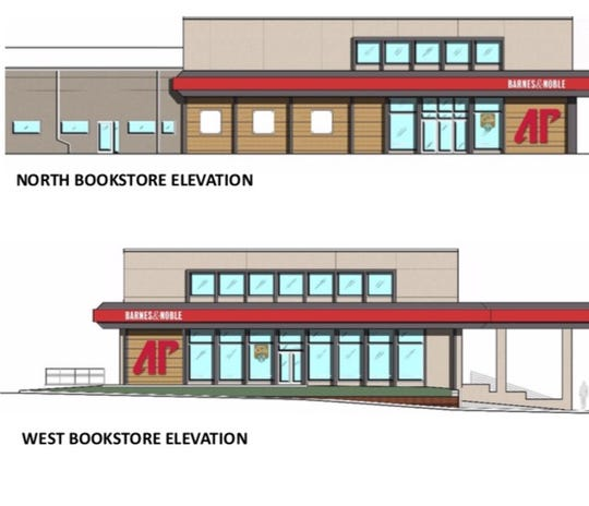 Two angles of the planned APSU Barnes and Noble Bookstore from an artist illustration.