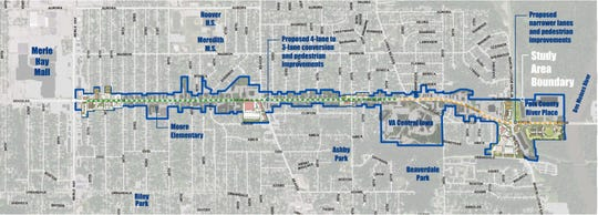 A look at the 2.8-mile redevelopment plan on Douglas Avenue, between the Des Moines River and Merle Hay Road.