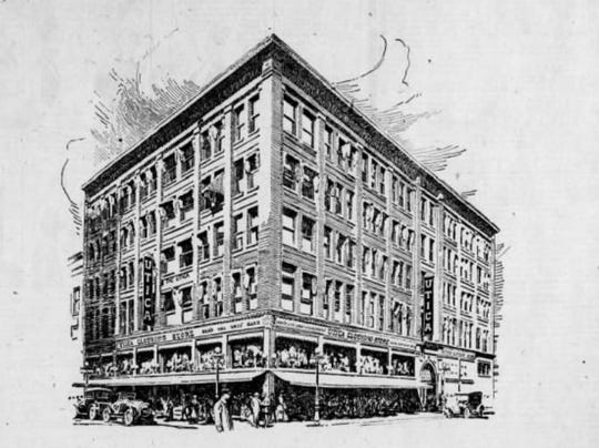 An illustration of the Utica store in downtown Des Moines.