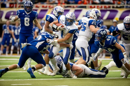 West Lyon, Inwood's Logan Meyer (1) rushes during their Class 1A state football championship game at the UNI Dome on Friday, Nov. 22, 2019, in Cedar Falls. West Lyon defeated Van Meter 50-14 to win the championship.
