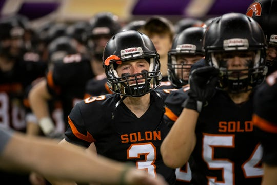 Solon's Cael O'Neill (3) lines up to shakes hands with Epworth, Western Dubuque after loosing 37-17 during their Class 3A state football championship game at the UNI Dome on Thursday, Nov. 21, 2019, in Cedar Falls.