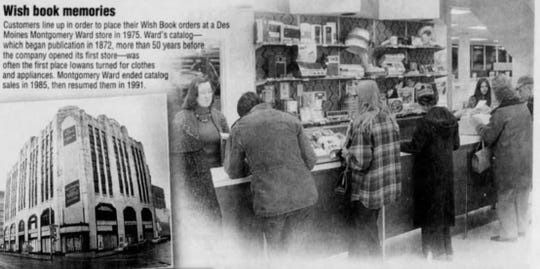 "An image of customers lining up to place their ""Wish Book"" orders at Montgomery Ward in 1974. The Wish Book was the department store's catalog."
