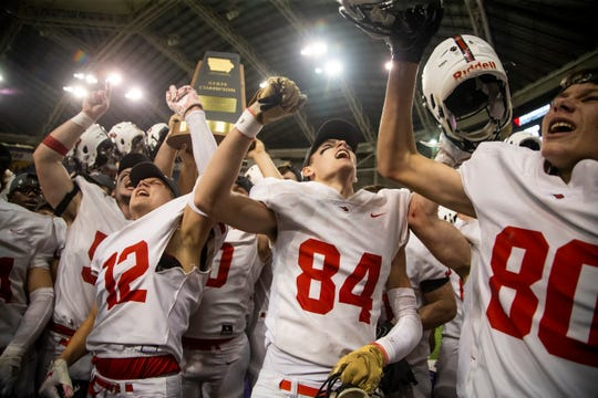 Epworth, Western Dubuque celebrates it's 37-17 victory over Solon during their Class 3A state football championship game at the UNI Dome on Thursday, Nov. 21, 2019, in Cedar Falls.