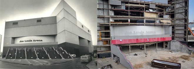 From left, Joe Louis Arena after its completion in 1979 and in 2019 during its demolition.