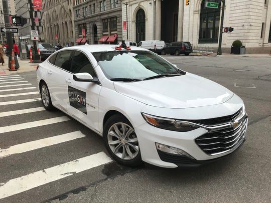 A Chevy Malibu is equipped with a thermal camera from AdaSky, Oct. 21, 2019 in Detroit.