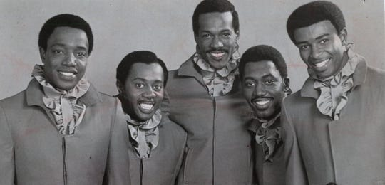 The Temptations in February 1969, left to right: Paul Williams, Melvin Franklin, Eddie Kendricks, Otis Williams and Dennis Edwards.