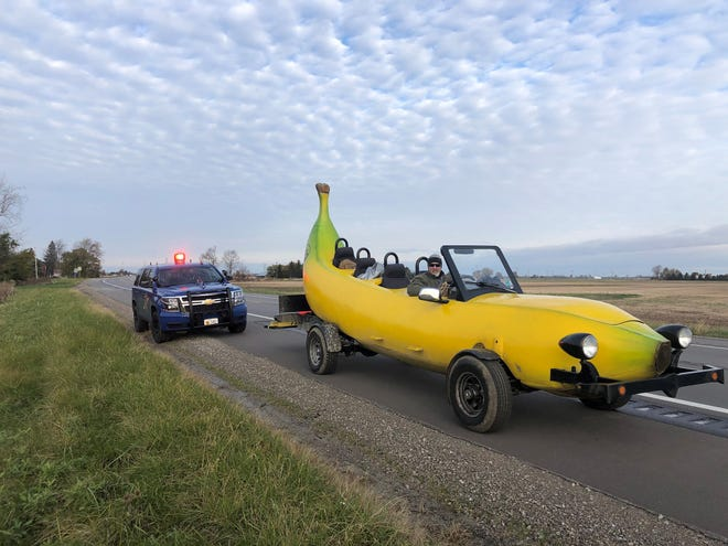 Steve Braithwaite was pulled over by MSP on U.S. 223 near Adrian on Oct. 27 for his banana-shaped car.