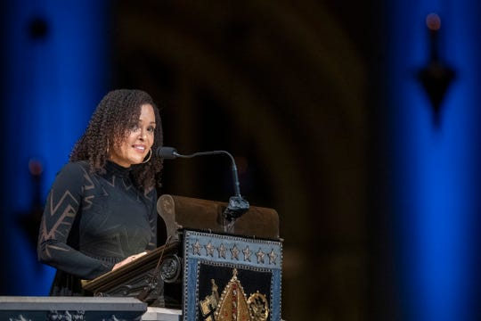 Author Jesmyn Ward speaks during the Celebration of the Life of Toni Morrison.