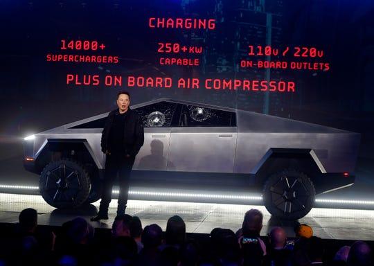 Tesla CEO Elon Musk introduces the Cybertruck.