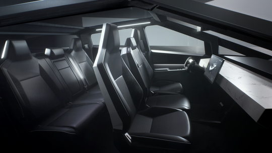 The Tesla Cybertruck interior has a 17-inch screen.