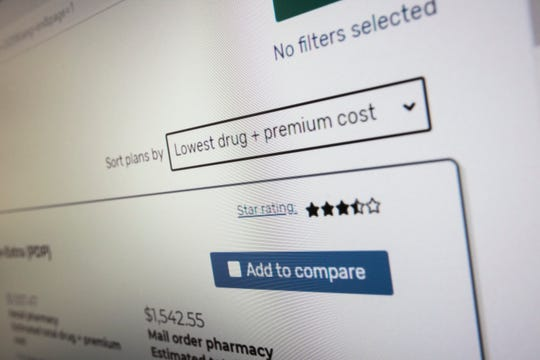 """President Trump's administration's new and highly touted online tool for seniors to find Medicare prescription drug plans showing the prefered default Sort selection instead of the default """"Lowest Premium"""" which is not reflective of the true out of pocket costs for the year, in Arlington, Va., Thursday, Nov. 21, 2019."""
