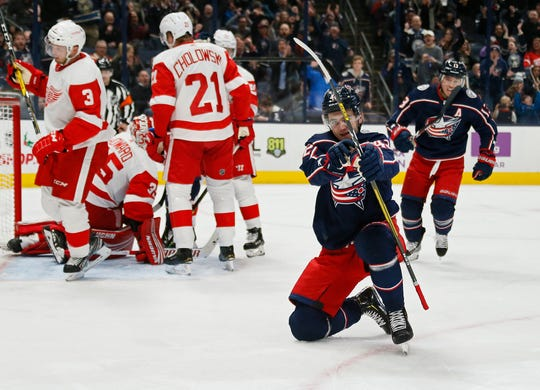 The Columbus Blue Jackets' Alexandre Texier (42) celebrates scoring during the first period.