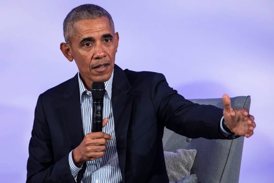 FILE - In this Oct. 29, 2019, file photo, former President Barack Obama speaks during the Obama Foundation Summit at the Illinois Institute of Technology in Chicago.