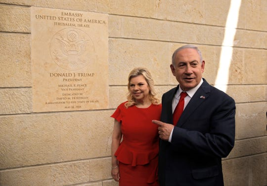 Israeli Prime Minister Benjamin Netanyahu and his wife, Sara, attend the opening ceremony of the new U.S. Embassy in Jerusalem.