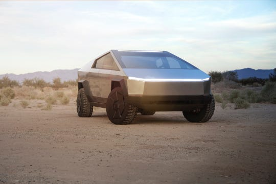 The all new Tesla Cybertruck pickup looks like something out of a Blade Runner movie.