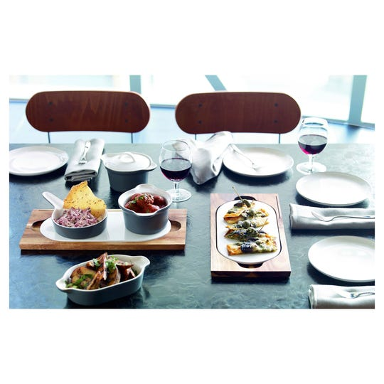 Elevate your next gathering with unique serving pieces like the ones shown here from the Gordon Ramsay by Royal Doulton Bread Street Collection.
