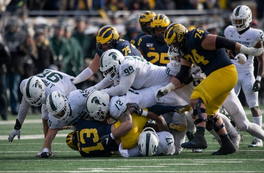 Michigan State's defense gave up 467 yards of offense to Michigan in a 44-10 loss.